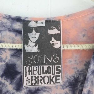 Young Fabulous & Broke Tops - Young Fabulous & Broke Tie Dye Crossover Wrap Top